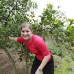 Ann picking Oranges